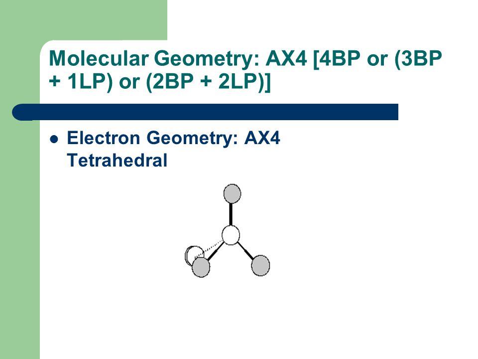 Molecular Geometry: AX4 [4BP or (3BP + 1LP) or (2BP + 2LP)]